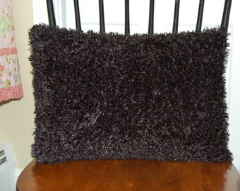 Fluffy Funky Black Pillow, Decorative, Super Soft Black Pillow