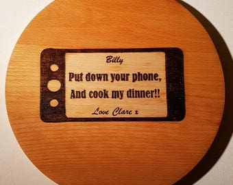 Custom Personalised Engraved Wooden Wood Cutting Block Chopping Board Wedding Couple Gift Pyrography Phone Home Improvement Kitchen Decor