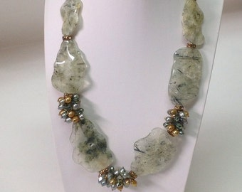 Crystals Prehnite Pearls Statement Necklace