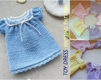 Doll dress pattern Amigurumi toy dress Blythe dress pattern Knit dress pattern American girl knit pattern Waldorf doll Tilda dress pattern