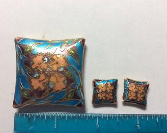 Cloisonné beads (3 pieces) Flower square