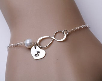 Infinity Bracelet,initialed heart Bracelet,pearl bracelet,custom birthstone,Personalized Infinity jewelry,Monogram Bracelet,custom font
