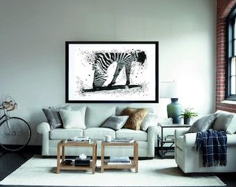 Zebra Watercolor Printable, Abstract Animal Print, Black and White Watercolour, Digital Download, Woodland Decor, Forest Animal Poster