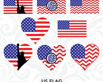 US Flag SVG, USA Flag Heart Files, United States Monogram Cutting Files, Cricut Design, SiIhouette Cameo, Clipart, dxf eps png jpg, C-052