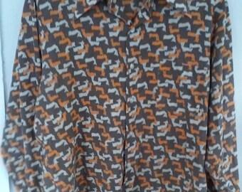 70s KINGS ROAD SHOP--Mens Shirt--Print of Little Deer--Poly-Cotton Voile--Big Lapels--Size L