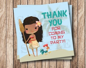 Instant Download . Printable Moana Tags, Printable Polynesian Princess Tags, Printable Moana Thank You Tags, Moana Birthday Party Tags
