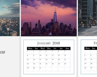 City, Urban Photography 2018, A3 Wall Calendar, start any month, Buy 2 for 19.99!