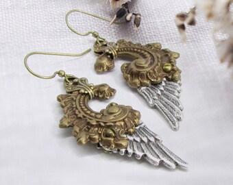 Gilded Wings - Statement Earrings, Angel Wing Earrings, Steampunk Earrings, Unique Dangle Earrings, Wing Jewelry, Fallen Angel, Skyward
