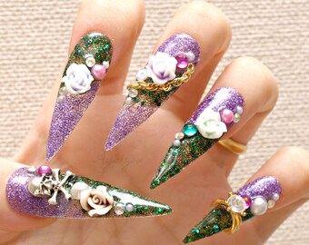 Stiletto nails, super long nails, purple, green, 3D nails, drag queen, Japanese nails, claws, skull,  nail ring, alternative girl, talons,