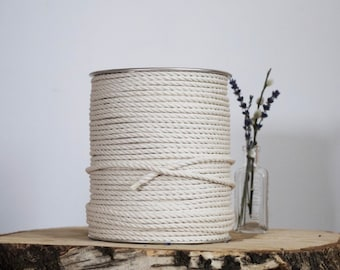 500 ft spool of 5mm 3 Strand Cotton Rope, Macrame  Rope, Macrame Cord, Cotton Rope, Macrame String