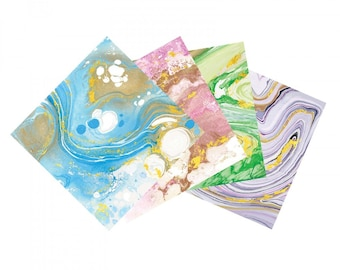 """New! Sizzix Metallic Marble Adhesive Sheets - 6"""" x 6"""", Assorted, 8 Sheets (663039)"""