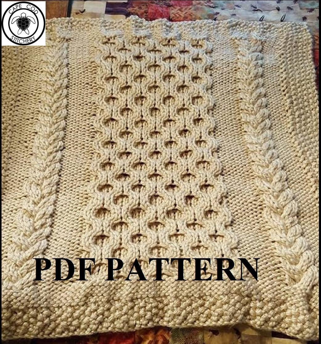 Knit Baby Blanket Pattern Knitting Pattern Cable Knit Aran