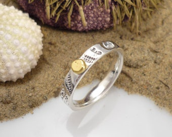 Silver and gold pearl ring, silver and gold band, narrow silver and gold ring, silver and gold hammered ring, nature inspired ring