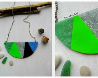 Statement Necklace from Polymer clay handmade geometric pieces green blue