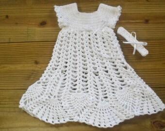Christening Dress/Baptism Dress/Crochet/Newborn/3 months/6 months/