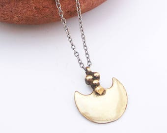 Gold-Brass-Warrior-Disc-Metal-Chain-Necklace / Free US Shipping