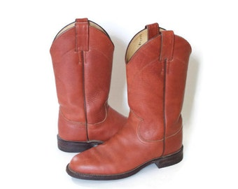 Vintage Western Cowgirl Brown Leather Boots - Size 5.5