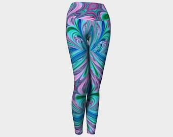 Swirling Paint - Blue Pink Yoga Leggings