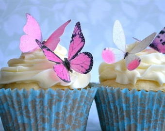 The Original EDIBLE BUTTERFLIES - 12 Small Assorted Pink - Cake & Cupcake toppers - Food Decorations