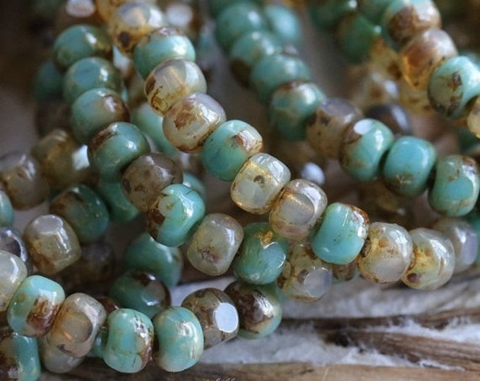 CASHMERE TURQUOISE SEEDS .. 50 Picasso Czech Glass Tri-Cut Seed Bead Size 6/0 (5348-st)