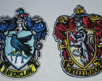 LOT of 2 Patches - Harry Potter Hogwarts House - Ravenclaw and Gryffindor patches - NEW!!! Free Shipping!!!