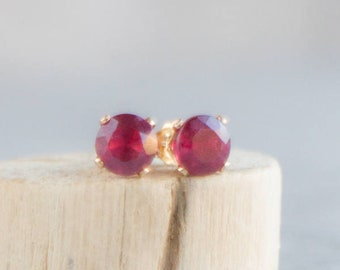 Ruby Stud Earrings, Mom Gift, Gift for Wife, Genuine Ruby Jewelry, Earrings Studs, Dainty Earrings, Gemstone Ear Studs, July Birthstone