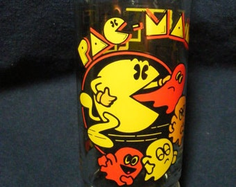 Pac Man Glass, 1982, Vintage Glass, Drinking Glass, Old Glass,