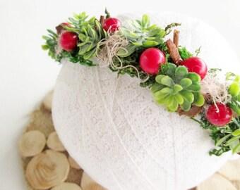 Christmas Baby Headband \ Christmas Headband Succulent Headband Green Red Headband Christmas Baby Girl Outfit Christmas FLower Headban