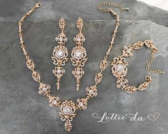 Vintage Style Bridal Statement Earrings, Necklace, Bracelet Set - Silver or Gold, Chandelier Earrings, Red Carpet Earrings  - 'MARINA'