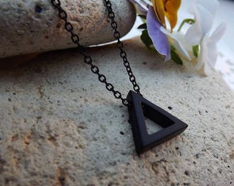 Black Geometric Triangle Necklace Pendant.