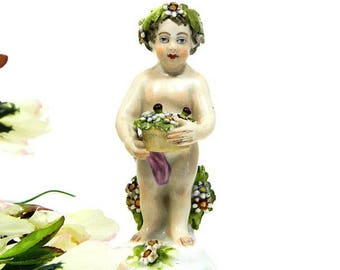 19th Century Antique French Edme Samson Tiny Cherub Putto Figurine Chelsea Gold Anchor