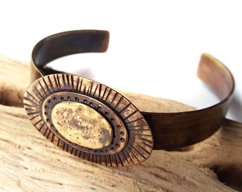 Brass Cuff Bracelet - Brass Metal Bracelet - Hippie Cuff Bracelet - Handmade Brass Bangle - Rustic Brass Cuff