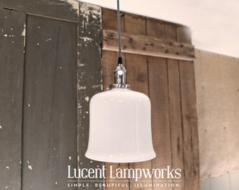 Flared Open Opal Shade Pendant Fixture - 8 Inch