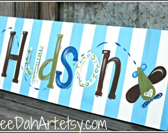 Large Custom  Personalized Wall Art, Boy Room Decor, Hand-painted wall Art, Airplane, Boy Room