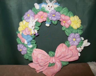 VINTAGE EASTER WREATH~Playful Easter Bunnies~Colorful Spring Flowers~Wall Hanging~Resin Material~Ready for Hanging~Pink~Yellow~Lavender