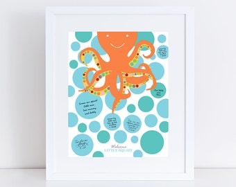 "octopus baby shower signature guest book 10x8"" print new baby or birthday boy girl nursery art blue bubbles orange rainbow"