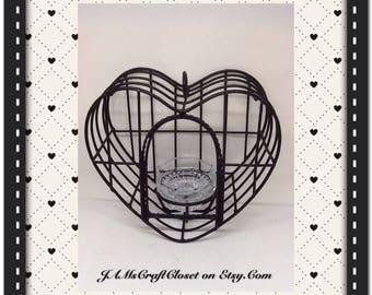 Birdcage Vintage Heart Shaped Black Wrought Iron Candle Holder Home Decor Country Decor Cottage Chic Decor Victorian Decor Porch Patio Decor