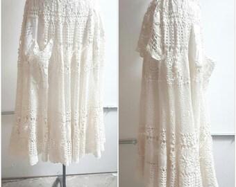 Boho Chic Crochet Skirt, Peasant Skirt, Beach, White crochet Gypsy skirt