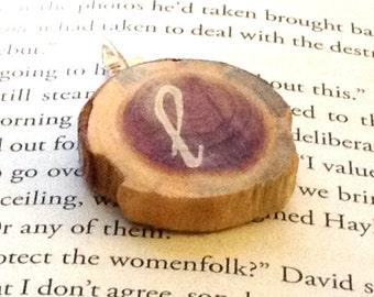 Cedar Wood Slice Initial Pendant - Custom Stamped Pendant - Personalized Wood Slice Pendant