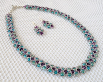 "Set of handmade jewelry ""Moonlight Sonata"". Made from glass beads and Czech beads."