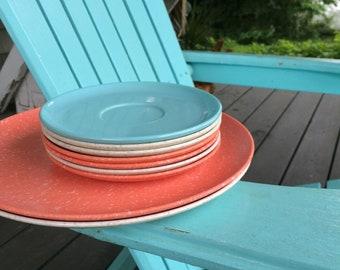 Vintage Lot of Speckled Gray and Orange Melamine Dishes, Melamine Dinnerware