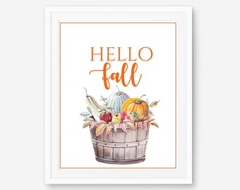Fall printable, pumpkin printable, Autumn Printable, pumpkin wall art, pumpkin art print, watercolor pumpkin, pumpkin wall decor, pumpkin