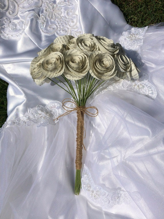 Spiral book page bouquet bridal paper flower bouquet for