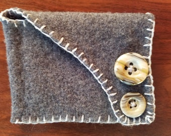 Wool bag with vintage buttons, hand stitched, upcycled