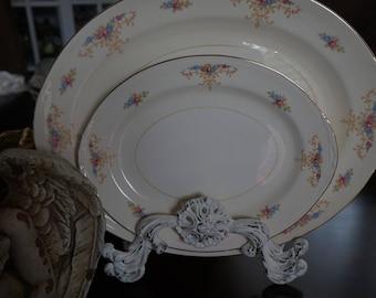 Vintage, Set of Two Nautilus Eggshell Serving Platters