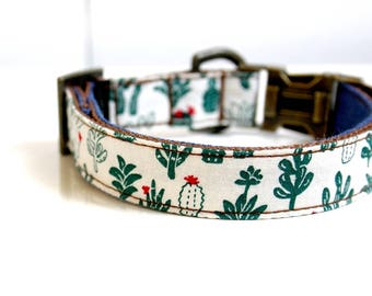 BOHO Cactus Denim Tassel Charm Dog Collar - Antique Brass