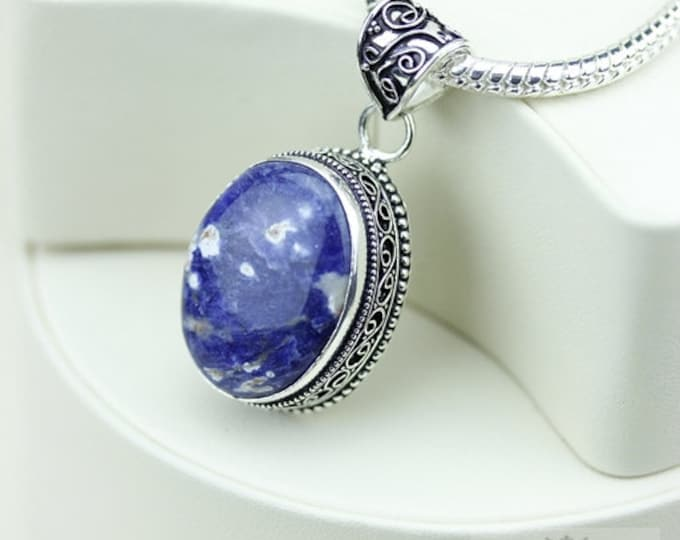 Sodalite Vintage Filigree Setting 925 S0LID Sterling Silver Pendant + 4mm Snake Chain & FREE Shipping p3299
