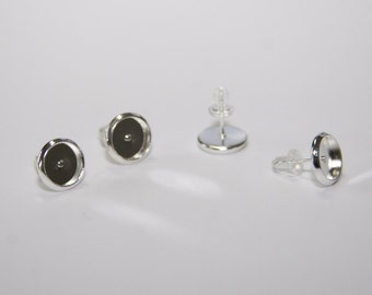 10 PCs stud earring settings / cabochon settings / silver tone / 10mm - fits for 8mm cabochons  OH033