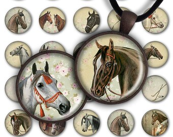 75% OFF SALE Digital Collage Sheet - Horses 1inch Round 30mm 25mm 20mm Animal Circle Pendant Download PC071 Instant Download Jewelry Making