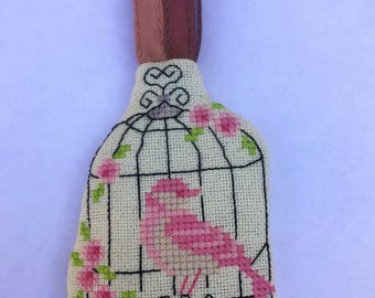 Handmade Cross Stitched Pink Bird in Cage Spring Ornament Keychain